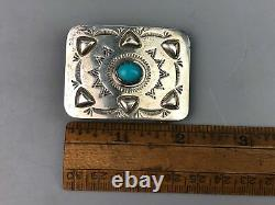 Vintage Navajo Sterling Silver Turquoise Belt Buckle Signed JB