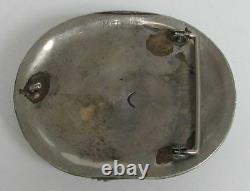 Vintage Navajo Sterling Silver Turquoise Signed Belt Buckle