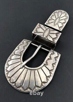 Vintage Old Pawn Navajo Sterling Silver Stamped Ranger Belt Buckle Set