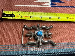 Vintage Old Pawn Navajo bisbee Turquoise Sandcast Sterling Silver Belt Buckle