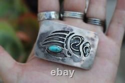 Vintage Old Pawn Navajo sterling silver belt turquoise belt buckle Bear Claw