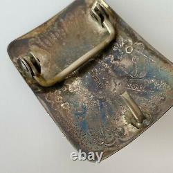 Vintage Old Sterling Silver 925 Navajo Native American Turquoise Belt Buckle