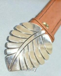 Vintage Older Signed Steve Yellowhorse Navajo Sterling Silver Leaf Belt Buckle