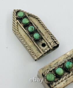 Vintage Pawn Navajo Sterling Silver Stamped & Turquoise Ranger Belt Buckle Set