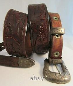 Vintage STERLING SILVER Western Leather BELT BUCKLE SET United Carr 1940's