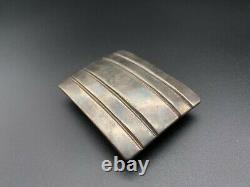 Vintage Southwestern Modernist HB Sterling Silver Belt Buckle