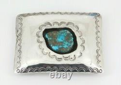 Vintage Southwestern Sterling Silver Turquoise Shadow Box Belt Buckle