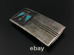 Vintage Southwestern Thunderbird Turquoise Sterling Silver Belt Buckle