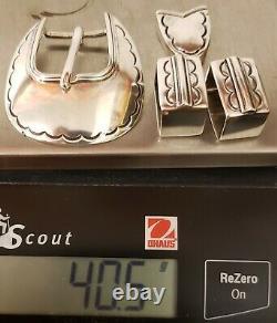 Vintage Sterling Silver4 Piece Belt Buckle Set40.5 Gramsexcellent Unused Cond