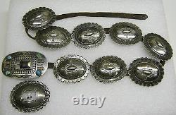 Vintage Sterling Silver And Turquoise 8 Concho Belt With 2 Buckles N420