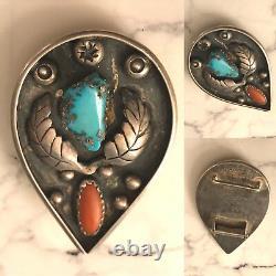 Vintage Sterling Silver Old Pawn Turquoise Coral Belt Buckle Fred Harvey Era