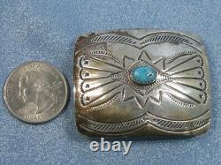 Vintage Sterling Silver Turquoise Belt Buckle Stamped Design