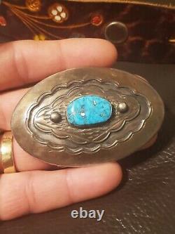 Vintage Sterling Silver Turquoise DAVID F. GARCIA belt Buckle