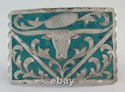 Vintage Sterling Silver & Turquoise Etched Bull Western Belt Buckle