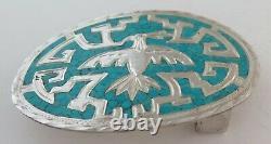 Vintage Sterling Silver & Turquoise Etched Eagle Western Belt Buckle