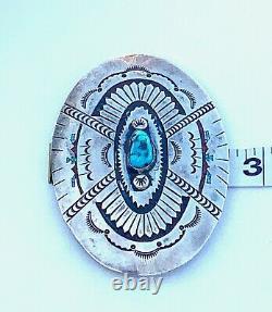 Vintage Sterling Silver Turquoise Stamped Belt Buckle Signed