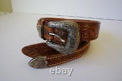 Vintage Sunset Trails Sterling Silver Belt Buckle & Leather Belt 34