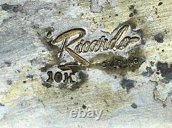 Vintage Western Ricardo Sterling Silver 10k Gold Horse Head Etched Belt Buckle