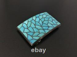 Vintage Zuni Milton Lasiloo Turquoise Inlay Sterling Silver Belt Buckle