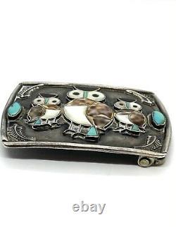 Vintage Zuni Sterling Silver Turquoise Mother Of Pearl Owl Belt Buckle R. Homer