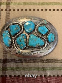 Vintage Zuni Sterling Silver Turquoise Snake Belt Buckle By Effie Calavaza