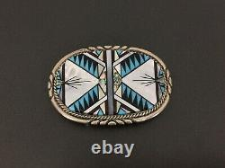 Vintage Zuni T&J Turquoise MOP Coral Inlay Sterling Silver Belt Buckle