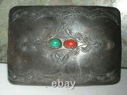 Vintage sterling silver turquoise coral belt buckle OLD hand stamp 2 7/8X2.8 0Z