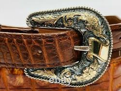 Vogt Sterling Silver. 925 14k Gold Fill Ranger Belt Buckle Engraved 39 Floral