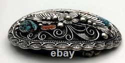 Vtg Navajo APACHITO Turquoise Red Coral Sterling Silver LARGE Belt Buckle 72g
