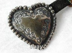 Vtg Navajo Lou Heart Sterling Silver Belt Buckle 24 Conchos Set