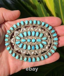 Vtg Navajo Petit Point Cluster Kingman Turquoise Sterling Silver Belt Buckle HV