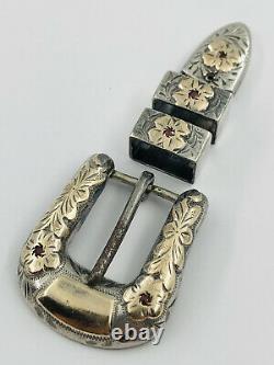 Vtg Sterling Silver 10k Yellow Gold Ruby Ranger Western Engraved Belt Buckle Set