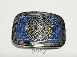 Vtg Sterling Silver Aztec Mayan Calendar Belt Buckle Turquoise Chip Inlay 100g