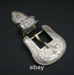 Western Vogt Sterling Silver 3D Engraved Ranger Buckle 0.75 Belt 3pc M1254