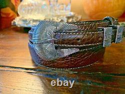 XLG Navajo James Reid Style Sterling Silver Belt Buckle set NU strap 34-37