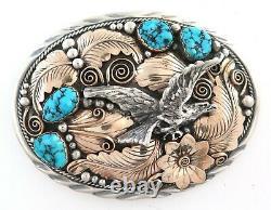 XL Navajo Julia Etsitty Gold Filled Sterling Silver Turquoise Eagle Belt Buckle