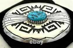 XL TOMMY SINGER BELT BUCKLE Sterling Silver KINGMAN MineTurquoise NAVAJO Thomas
