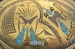 XL TOMMY SINGER NOS BELT BUCKLE Sterling Silver 18K Gold Turquoise NAVAJO Thomas