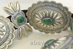 XL signed TC 19+ozt Navajo CONCHO BELT Sterling Silver & 17 TURQUOISE buckle