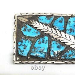 ZUNI Sterling Silver Turquoise Feather Leaf Belt Buckle Vintage MARVELYNE CHEAMA