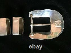 Zuni Inlay Signed Sterling Silver Spiny Oyster 3 pc Ranger Belt Buckle Set