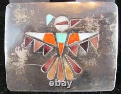 Zuni Native American Inlay Thunderbird Sterling Silver Belt Buckle Dead Pawn