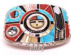 Zuni Sterling Silver Multi Color Inlay Sunface Belt Buckle -Don Dewa
